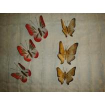 Juego De Seis Mariposas De Latón