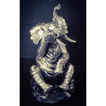 Escultura Elefante Sentado Plata 999 Electroformado Figura