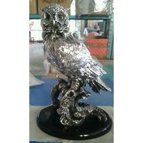 Escultura Búho Grande Plata 999 Electroformado Figura