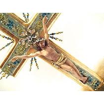 Cruz Con Cristo, Tela Y Hoja De Oro