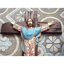Cruz Con Cristo De Madera, Milagros Y Hoja De Oro, Capa Azul