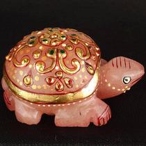 Tortuga Esmaltada De Cuarzo Rosa 594..00 Quilates