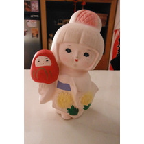 Figura Oriental Ceramica Japon Girl With Daruma Doll Vintage