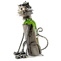 Porta Potellas De Vino Metalico Con Forma De Gato