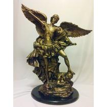San Miguel Arcangel Resina Dorado Antiguo Un Bello Regalo