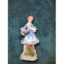 Muñeca Del Vestido Azul En Porcelana Pintada A Mano