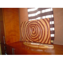Preciosa Y Contemporanea Escultura Triptica Madera Banak Maa