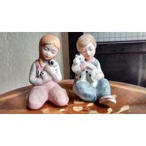 Niños Con Cachorros Figuras De Porcelana Fina Japonesa.