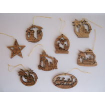 Ornamentos Adornos Navidad Madera Olivo Tierra Santa Israel