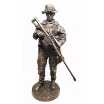 Escultura De Soldado Francotirador De 32 Cm Acabado Bronce