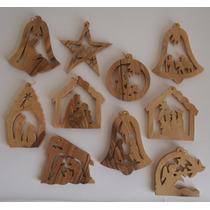 Paquete Ornamentos Navidad Madera Olivo Tierra Santa Israel