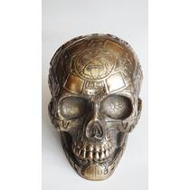 Cráneo Azteca Figura Apariencia Bronce Colección Decoración