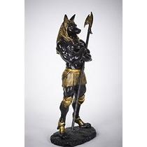 Musculoso Oscuro Anubis Estatua Egipcia Deidad De Afterlife