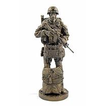 Escultura De Soldado Paracaidista De 32 Cm En Acabado Bronce