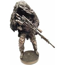 Escultura De Soldado Francotirador Con Camuflaje De 32 Cm