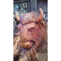 Hermosa Escultura De Bisonte Americano En Mezquite. Grande.