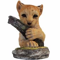 Figura Escritorio Ejecutivo Tigre Cachorro Tronco Escultura