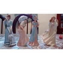 4 Damas Elegantes Figuras De Porcelana Antigua