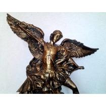 Arcangel Miguel Resina Dorado Antiguo Excelente Regalo