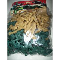Gcg 1 Lote 80 Soldados Plastico Verde Y Beige 5 Centimetros