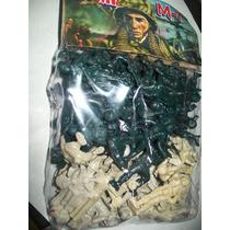 Gcg 1 Lote 80 Soldados Plastico Verde Y Blanco 5 Centimetros