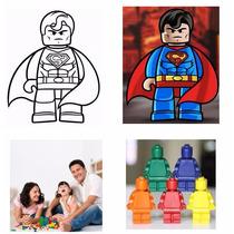 Crayolas En Forma De Muñecos De Lego - Estuche Transparente