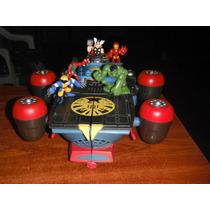 Super Hero Squad Helicarrier De S.h.i.e.l.d. Y 5 Figuras