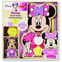 Minnie Button-partido De Madera Set Lacing