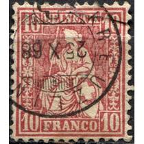 3192 Suiza Mujer Escudo Scott#53 10 F Usado 1867-68