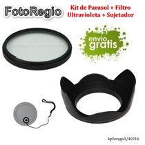 Kit Parasol, Filtro Y Sujetador 52mm D7000 D7100 D7200 D5500