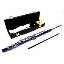 Flauta Transversal Azul De Orificios Cerrados Omm