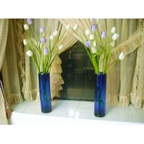 2 Hermosos Floreros De Vidrio Azul Precio X Ambos, Casa