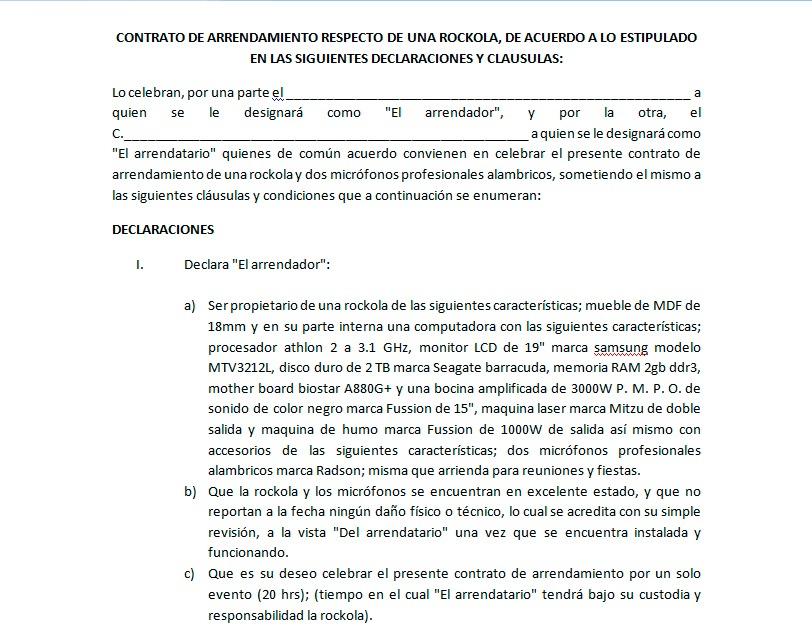 Contrato De Renta En Espanol