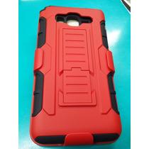 Clip, Funda,protector Uso Rudo Grand Max Rojo Con Mica Glass