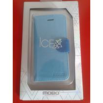 Funda Ice Tipo Cartera Marca Mobo Color Azul Para Iphone 5