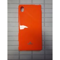 Silicon Jelly Case Xperia M4 Aqua Naranja Con Mica Glass