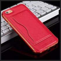Luxury Bumper Aluminio Piel Iphone 6 6s 6 Plus Porta Tarjeta