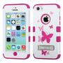 Funda Protector Mixto Apple Iphone 5c Blanco/rosa Mariposas