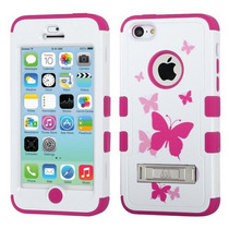 Funda Protector Mixto Apple Iphone 5c Blanco/rosa Mariposas