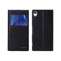 Sony Xperia Z2 Funda Flip S View Rock Original De Piel Negro