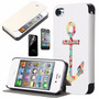Iphone 4/4s Funda En Piel Stylus+ 2 Micas Frontal Y Trasera