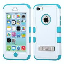 Funda Protector Mixto Apple Iphone 5c Aqua/blanco Triple Lay