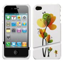 Funda Protector 2 Piezas Iphone 4g/4s Flores Naranjas