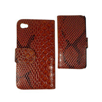 Iphone 4 4s Funda Flip Cover Broche Tipo Piel Vibora Cafe