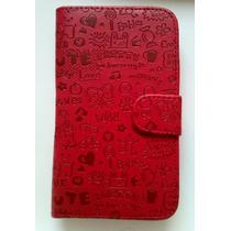 Lg L80.cartera Flip Cover Funda Celular Roja Y Rosa Mujer