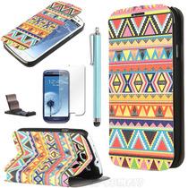 Funda Flip Delgada En Piel Samsung S3 I9300 Mica +stylus+