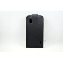 Funda De Piel Negra, Para Telefono Lg Nexus4 E960