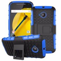 Carcasa Motorola E 2da Gen Hibrida Kickstand Azul