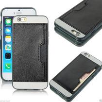Iphone 6 Funda En Piel Negro Trasera Con Compartimiento T/c
