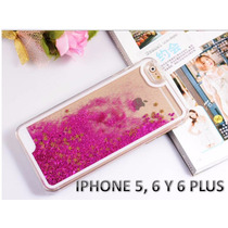 Funda Protector Iphone 5g Y 5s Con Agua Y Glitter Fiusha